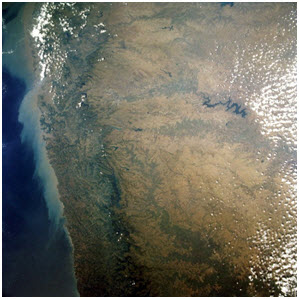The Western Ghats as seen from space.
